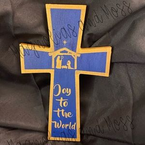 Navy and Gold Nativity Scene Wooden Cross